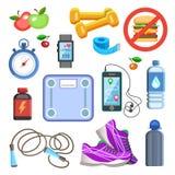 Sportpictogrammen of fitness uitrustingselementen Sportconcept, vector Stock Afbeelding