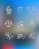 Sportpictogrammen in overzichtsstijl die worden geplaatst Stock Foto