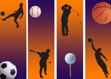 Sports 01. Football, golf ,baseball and basketball in graphic style Stock Images
