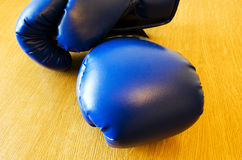 Sports. Dark blue boxing gloves (for employment by boxing Royalty Free Stock Images