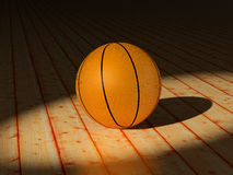 Sports. High resolution image. Basketball ball on a court - wooden floor. 3d illustration stock illustration