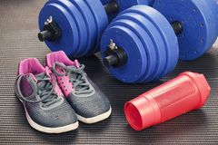 Sports accessories for fitness. Sports lifestyle. stock photo