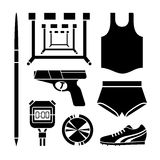 Sports Accessories icons set great for any use. Vector EPS10. Royalty Free Stock Photo