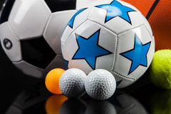 Sports accessories. paddles, sticks, balls and more Stock Photography