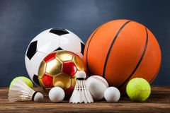 Sports accessories. paddles, sticks, balls and more Royalty Free Stock Images