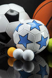Sports accessories. paddles, sticks, balls and more Stock Images