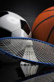 Sports accessories. paddles, sticks, balls and more Royalty Free Stock Photography