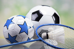 Sports accessories. paddles, sticks, balls and more Royalty Free Stock Photos