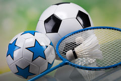 Sports accessories. paddles, sticks, balls and more Royalty Free Stock Photo
