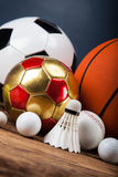 Sports accessories. paddles, sticks, balls and more Stock Image