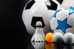 Sports accessories. paddles, sticks, balls and more Royalty Free Stock Image