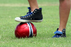 Sports Action. Foot on a soccer ball Stock Photo