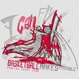 Sports action of basketball player on urban background vector illustration