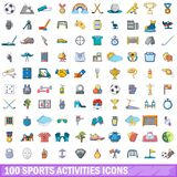 100 sports activities icons set, cartoon style. 100 sports activities icons set. Cartoon illustration of 100 sports activities vector icons isolated on white Royalty Free Illustration