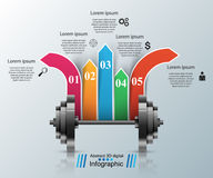 Sports activity. Business infographics. Barbell icon. Business illustration are sports in our lives. Barbell icon Royalty Free Stock Image