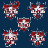 Sports all star crests Royalty Free Stock Photography