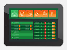 Sports app interface on tablet screen Stock Photo