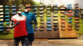 Sports Apparel And Shoes Retail Shop Royalty Free Stock Photos
