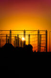 Sports Area Fences On The Sunset Stock Photos