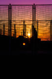 Sports Area Fences On The Sunset Royalty Free Stock Image