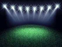 Sports arena. Spotlights and turf , 3d illustration vector illustration