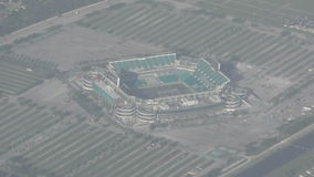 Sports arena aerial stock video