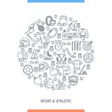Sports and athletics line concept. Thin line design concept on theme sports and athletics. Vector illustration Royalty Free Stock Images