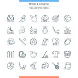 Sports and athletics line icons Stock Photos