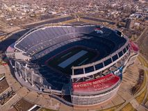 Sports Authority Field from Air. DJI flight downtown, looking at Bronco`s Sports Authority Stadium. Taken with DJI Mavic Royalty Free Stock Photos