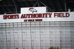 Sports Authority Field at Mile High, Denver, Colorado. Sports Authority Field at Mile High signage with Denver Broncos logo outside stadium in Denver, Colorado stock images