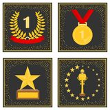 Sports awards on a black background. Golden sports trophies. Flat design, vector illustration, vector Stock Image