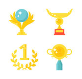 Sports awards vector illustration. Trophy sports awards and sport awards in flat design style. Sports awards vector and gold winner cup sports awards. Sports Stock Photo