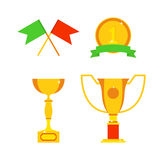 Sports awards vector illustration. Trophy sports awards and sport awards in flat design style. Sports awards vector and gold winner cup sports awards. Sports Stock Image