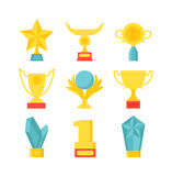 Sports awards vector illustration. Trophy sports awards and sport awards in flat design style. Sports awards vector and gold winner cup sports awards. Sports Stock Photos
