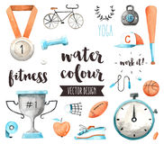 Sports Awards Watercolor Vector Objects Royalty Free Stock Photos