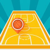 Sports background with basketball court and marker Stock Images