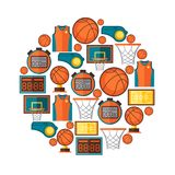 Sports background with basketball icons in flat Royalty Free Stock Photography