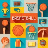 Sports background with basketball icons in flat Royalty Free Stock Photo