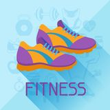 Sports background with fitness icons in flat style Stock Photos