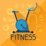 Sports background with fitness icons in flat style Royalty Free Stock Photos