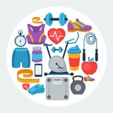 Sports background with fitness icons in flat style Royalty Free Stock Images