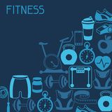 Sports background with fitness icons in flat style Stock Image