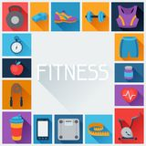 Sports background with fitness icons in flat style Stock Photography