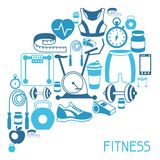 Sports background with fitness icons in flat style Stock Photo
