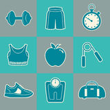 Sports Background with Fitness Icons. For Print or Web Royalty Free Stock Photo