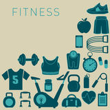 Sports Background with Fitness Icons Royalty Free Stock Image