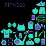Sports Background with Fitness Icons Royalty Free Stock Photos