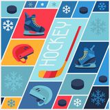 Sports background with hockey equipment flat icons Stock Photography