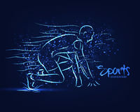 Sports background with man ready for Race. Royalty Free Stock Image