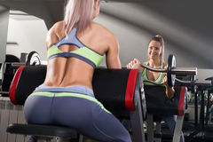 Sports background. Muscular fit woman exercising. Stock Photo